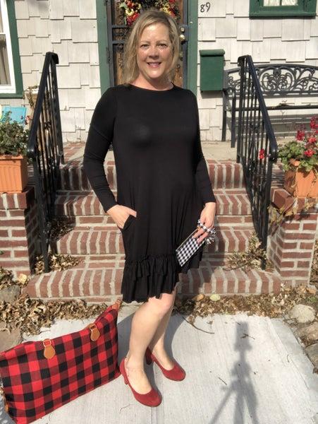 Long Sleeve Ruffle Hem Dress  Black