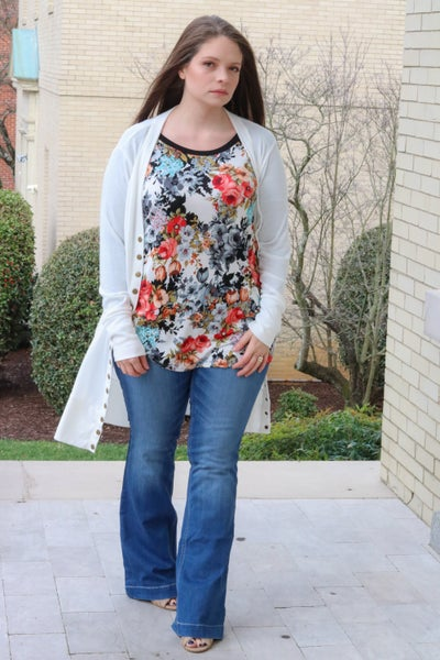 Fall Floral Long Sleeve Tunic top