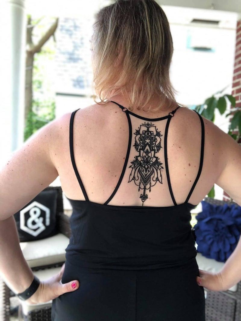 Tattoo Mesh Racerback Bralette Black