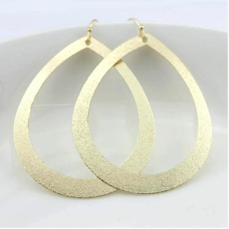 Metallic Open Tear Drop Earrings