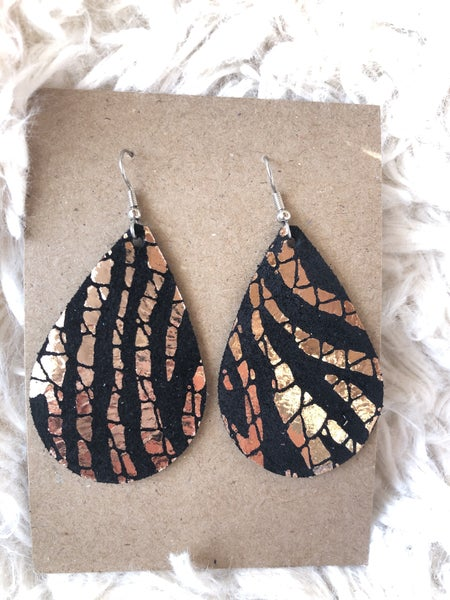 Eye of the Tiger Leather  Earrings