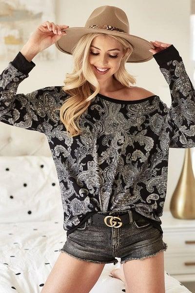 Paisley Knit Top