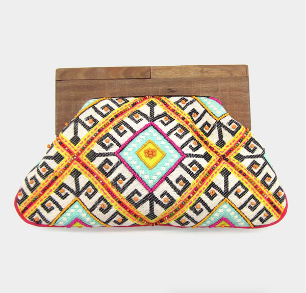 Boho Pattern Wood Closure Clutch