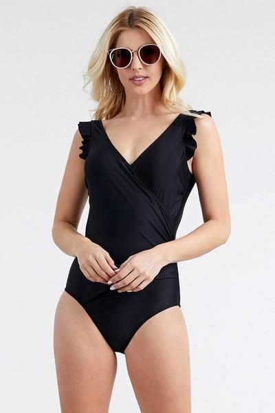 Ruffled Edges SwimSuit Black