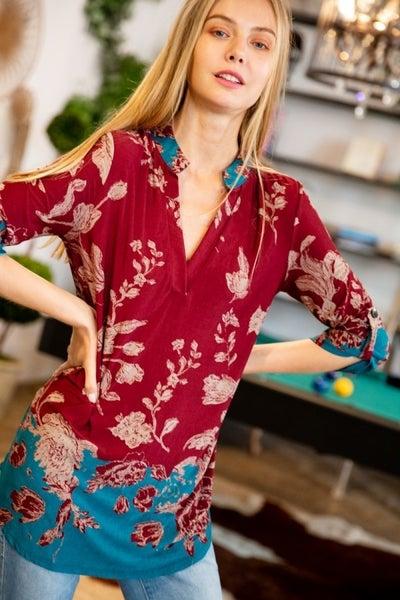 Ombre Floral Print 3/4 Sleeve Mandarin Collar Tunic Top