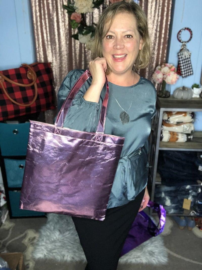 Metallic Tote Bag Pink