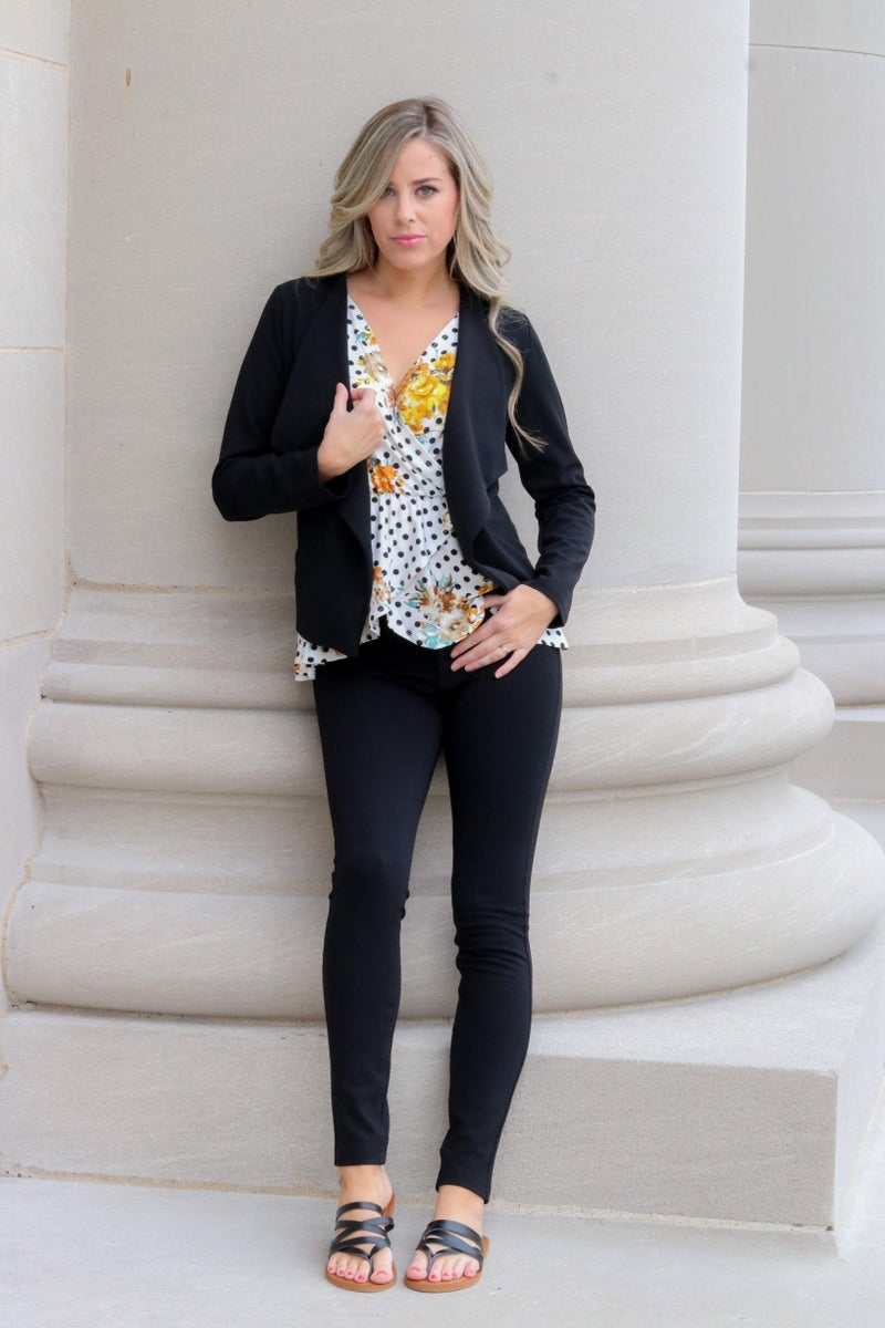 Open Front Blazer Black