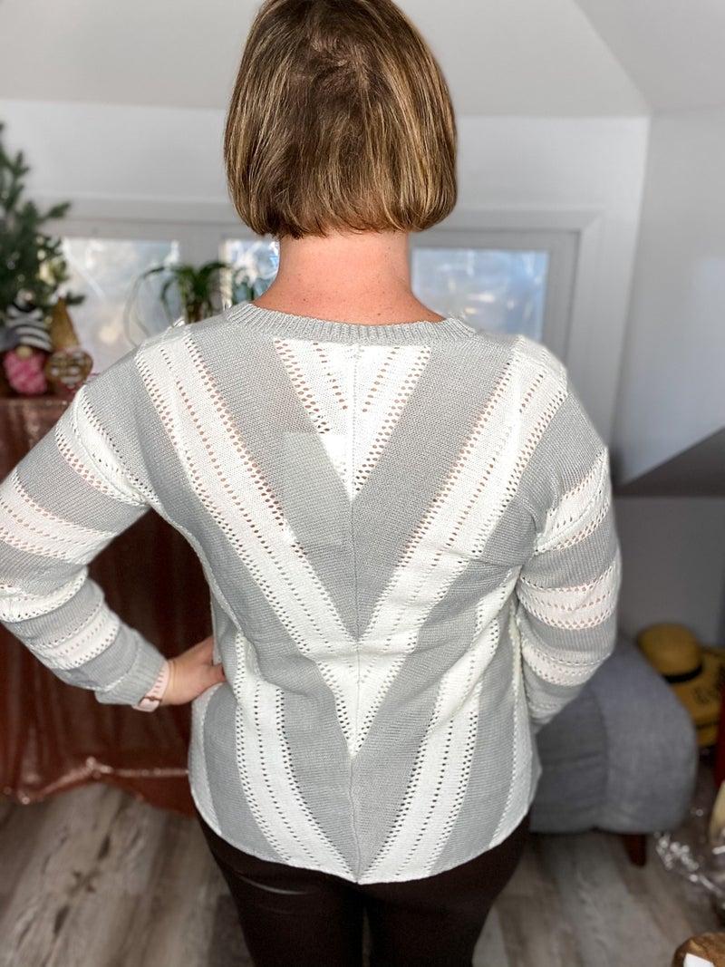 Fireplace Eyelet V Neck Sweater