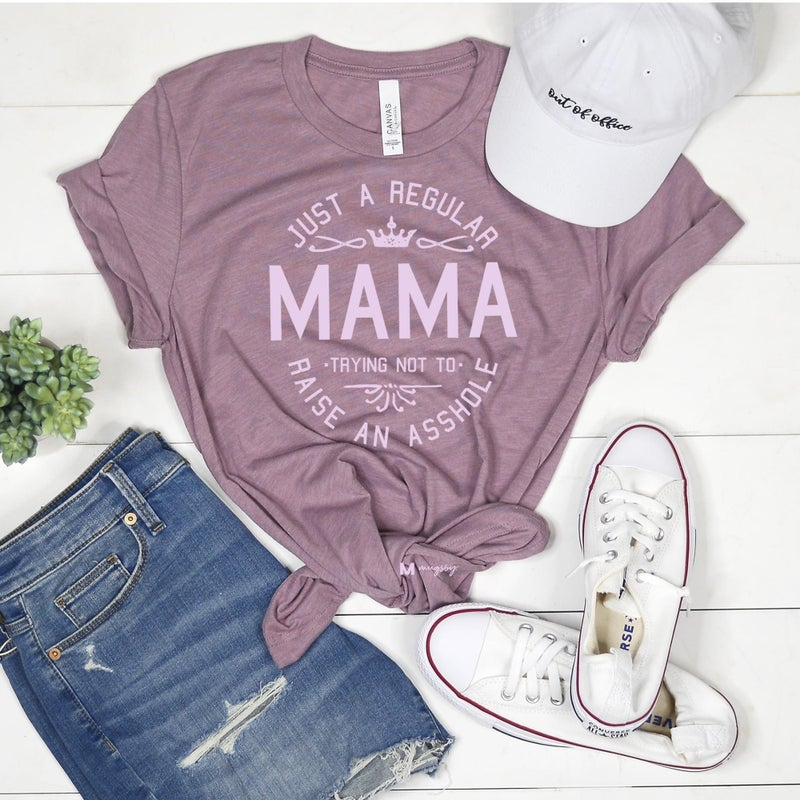 Just a Regular Mama Tee Orchid