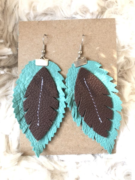 Teal Feather Leather Earrings