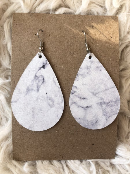White Marble Leather Earrings