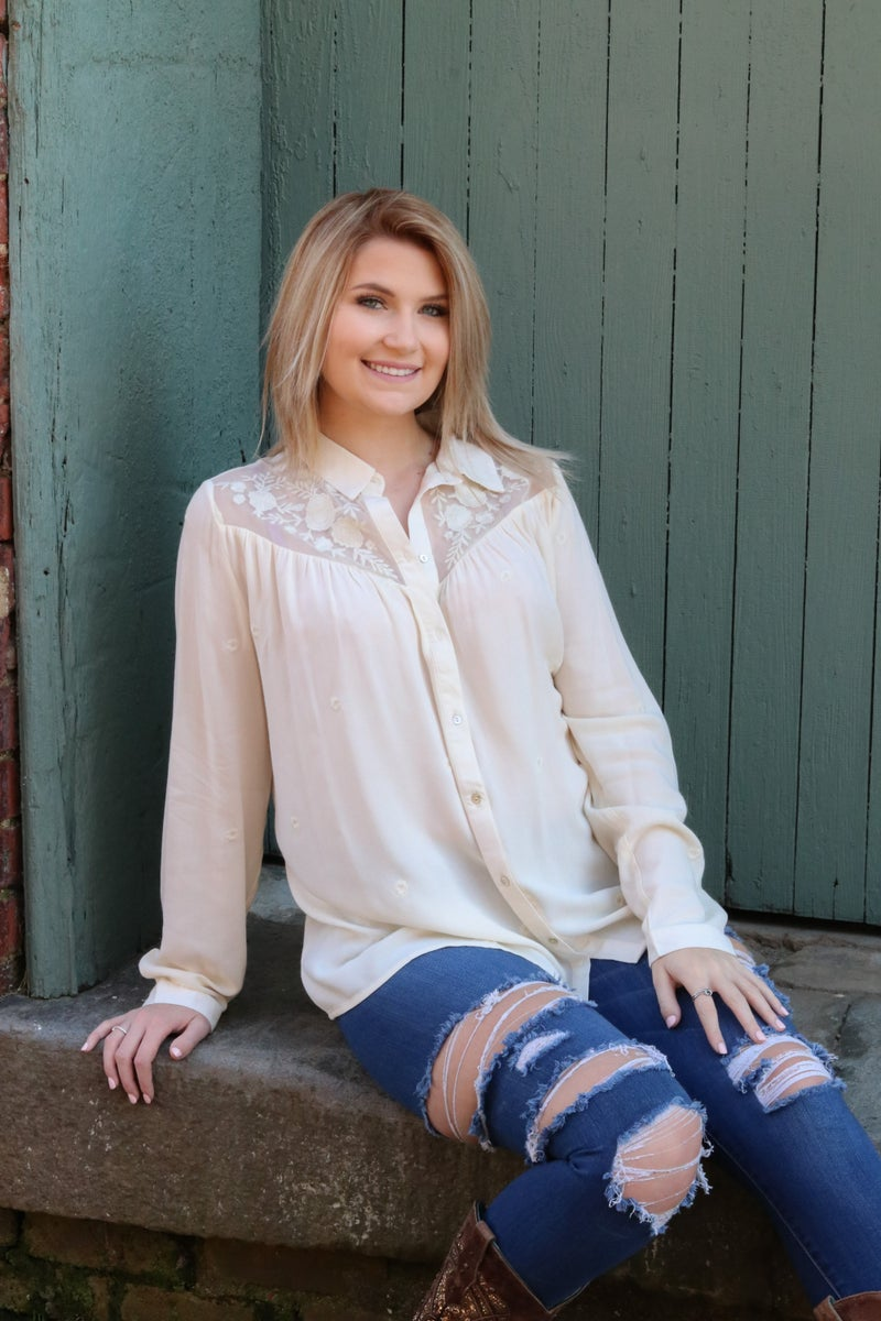 Embroidered Lace Yoke Button Down - Ivory