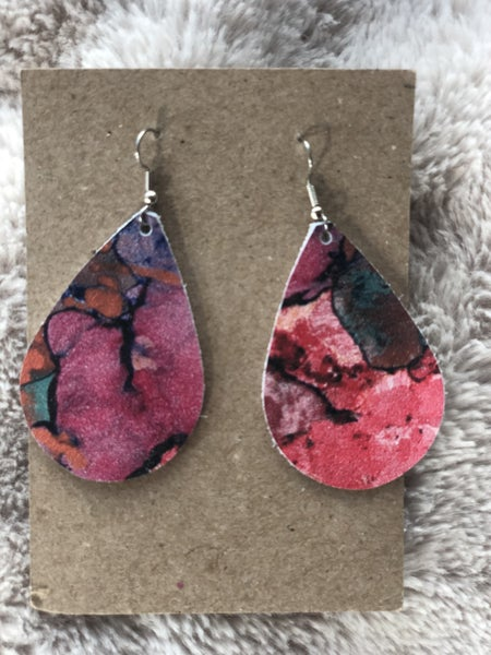 Watercolor Leather Tear Drop Earrings