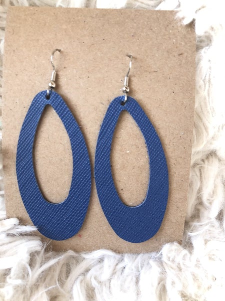 Navy Cut Out Leather Earrings