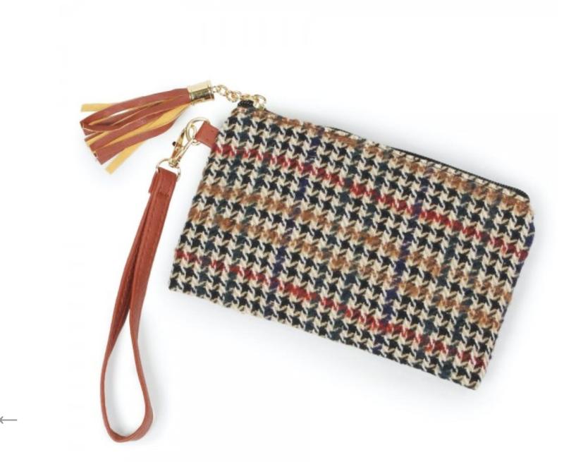 Fleece Houndstooth Handbag