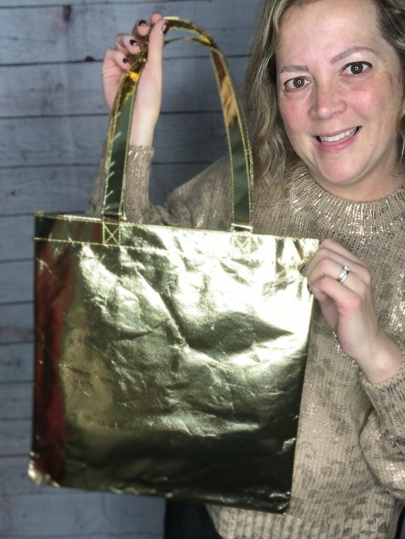 Metallic Reuable Tote Bag Gold