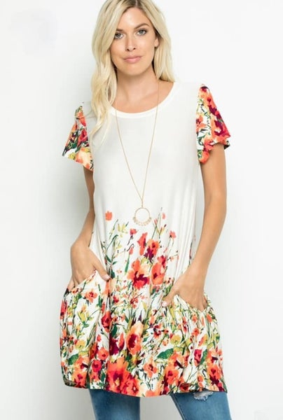 For the Roses Swing Tunic - Ivory