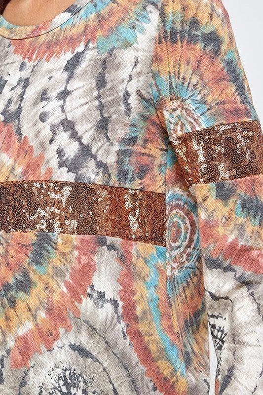 Tie Dye Glitter Pullover