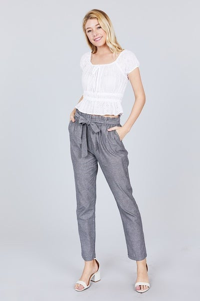 Paperbag Waist Pants with Bow Black and White