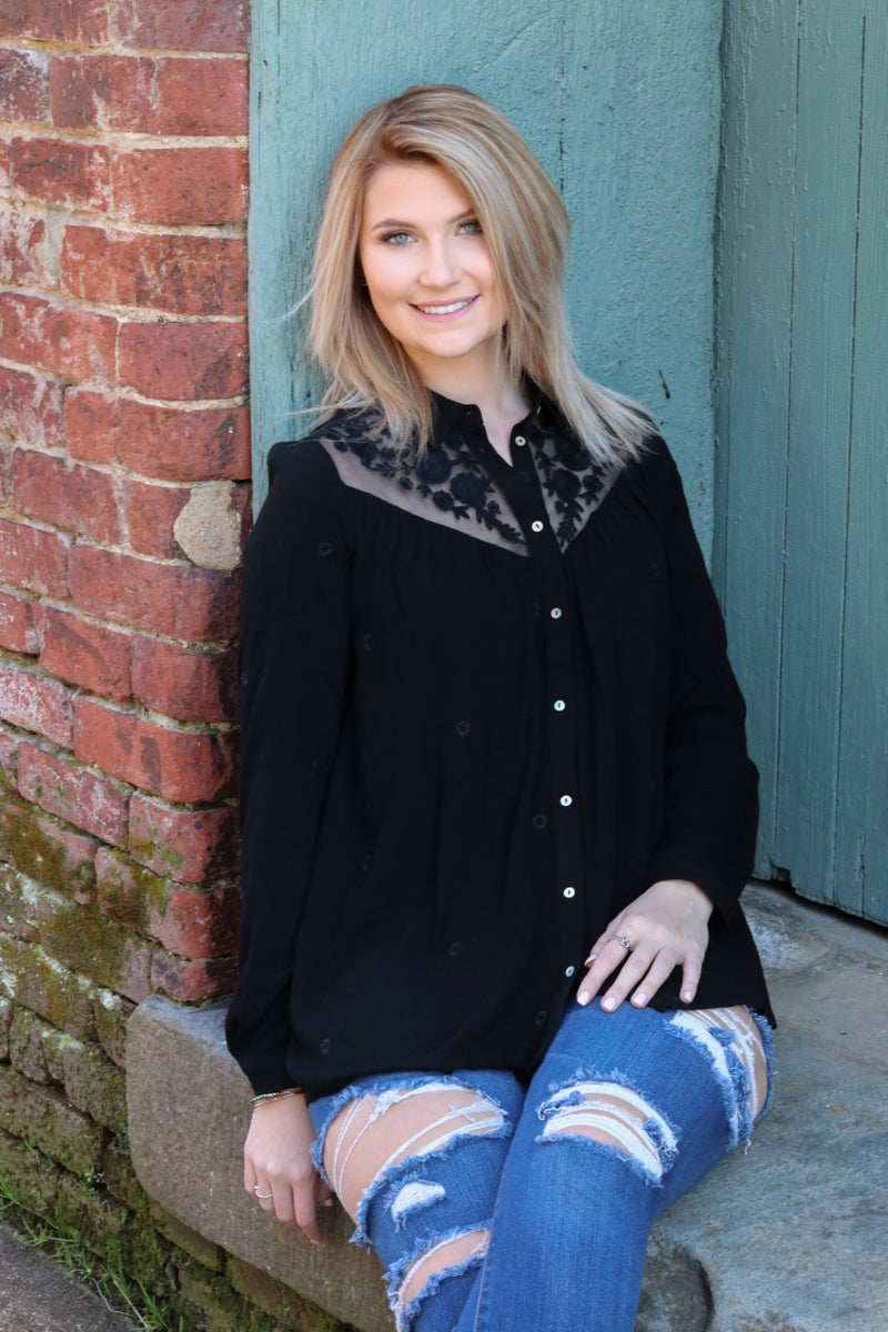 Embroidered Lace Yoke Button Down - Black