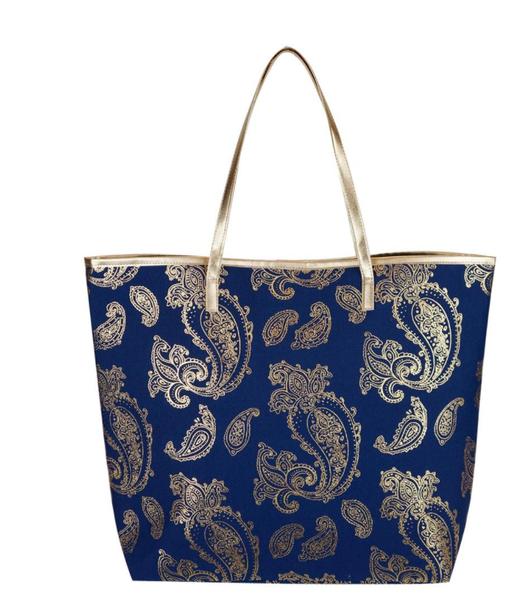 Metallic Paisley Tote Bag