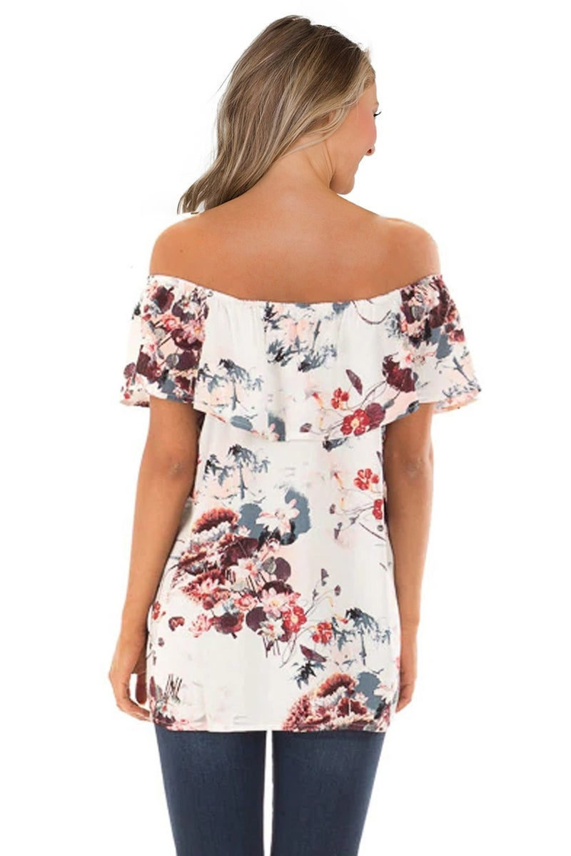 Grow with Me Off the Shoulder Floral Top _ Ivory