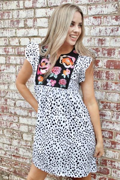 Embroidered Animal Print Dress
