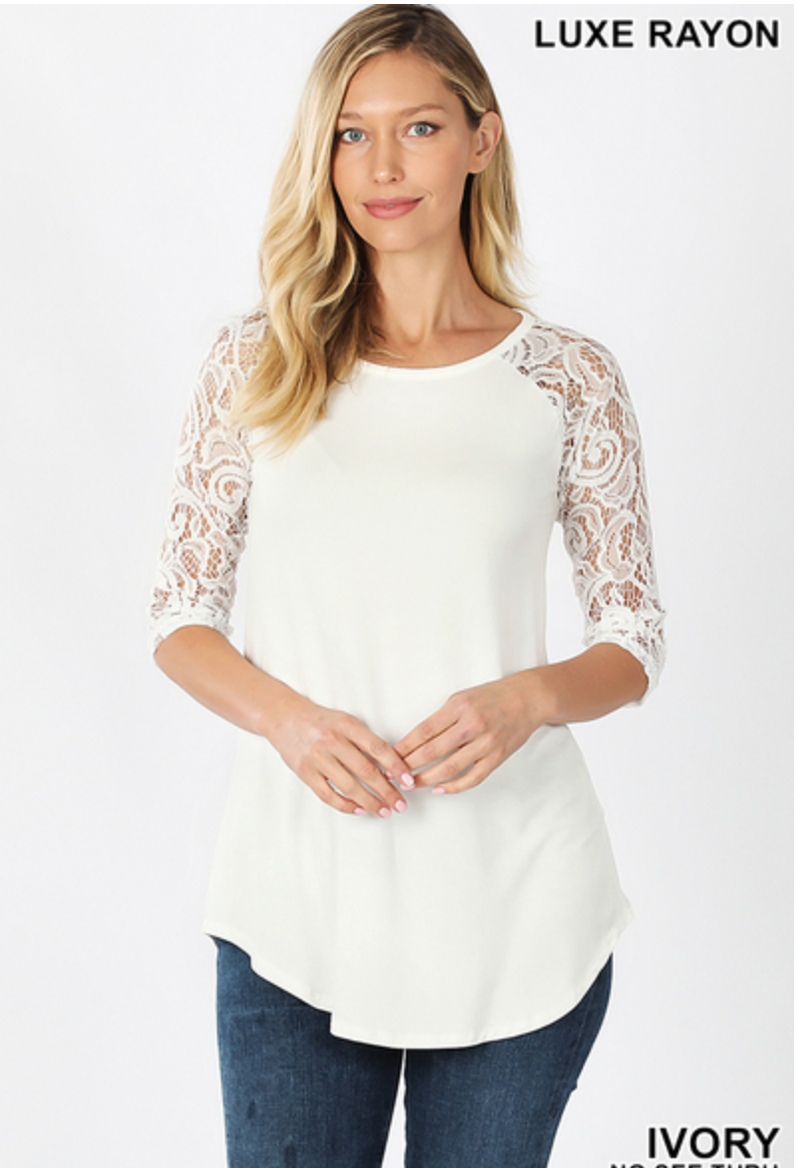 Turn of Events Lace Sleeve Top - Ivory