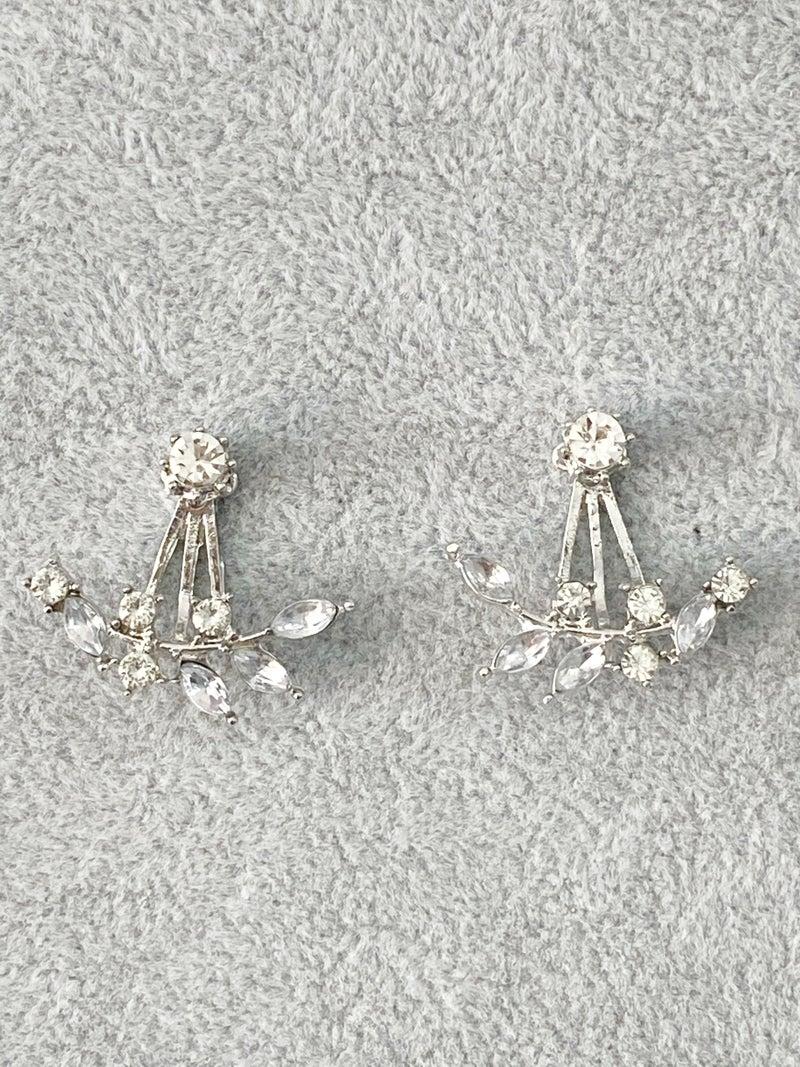 Crawler Earrings Stone Leaf