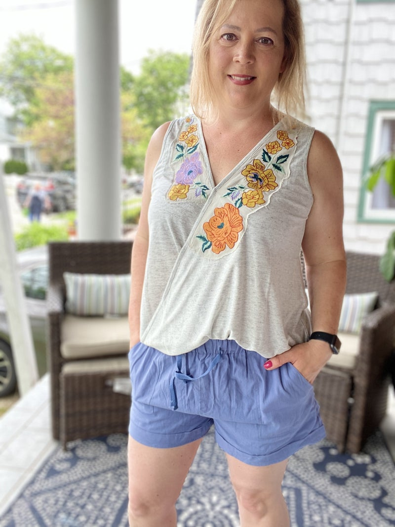 Embroidered Cross Over Tank