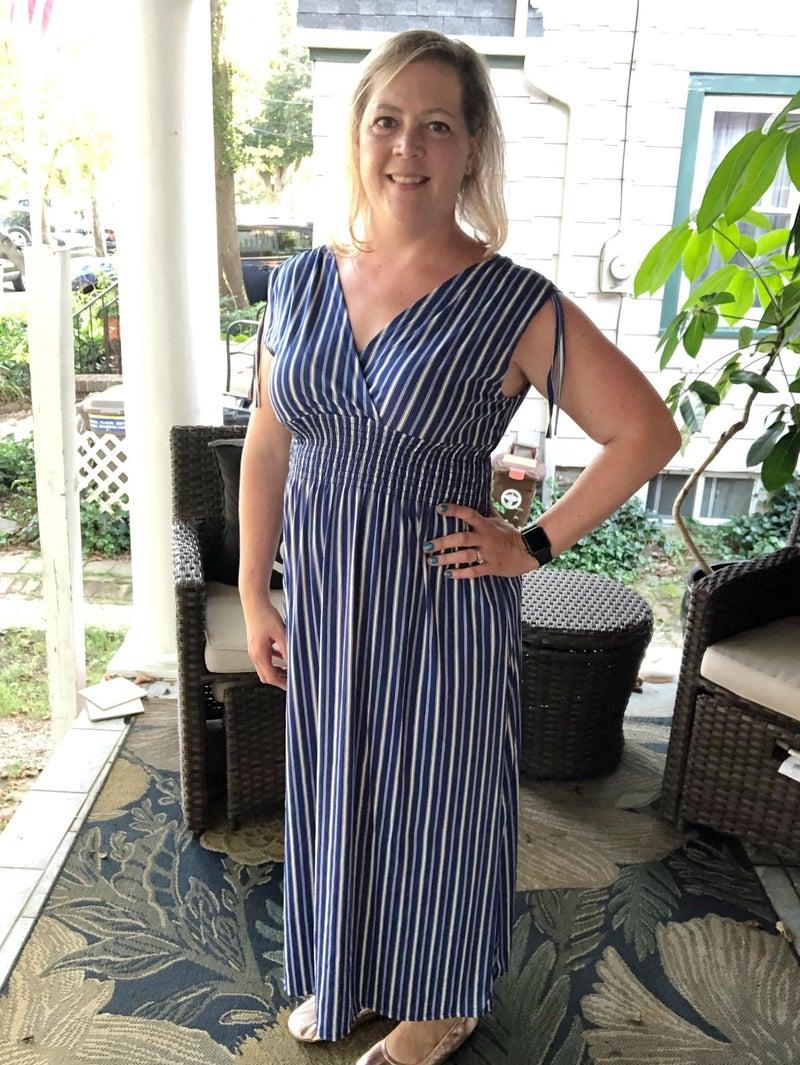 Smocked Waist Dress - Blue and Ivory Stripe