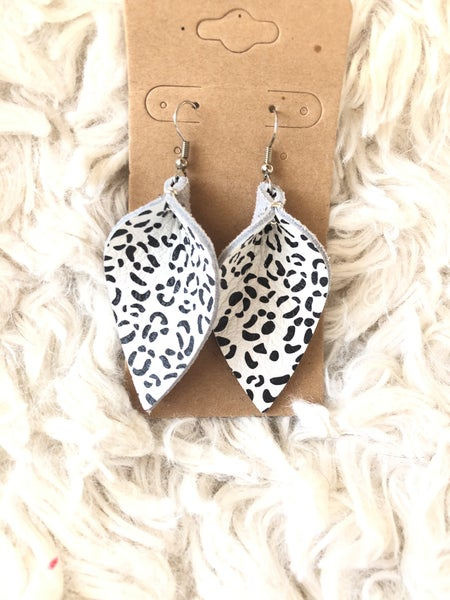 Folded Snow Leopard Leather Earrings