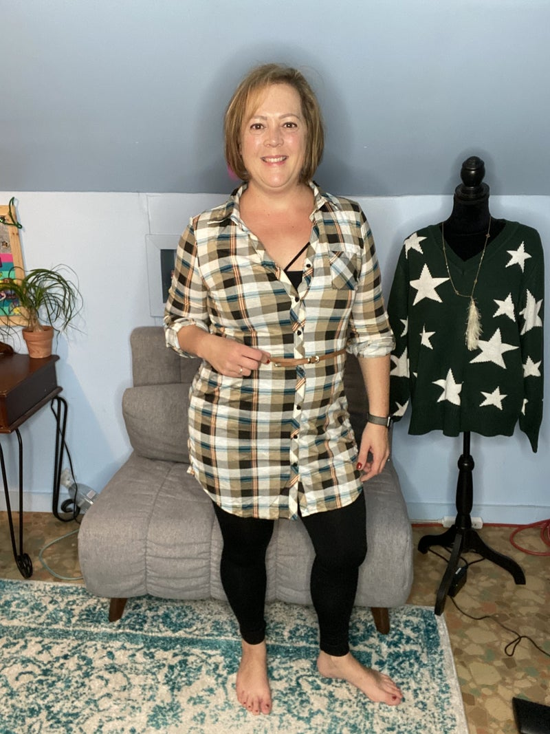 Flannel Tunic with Belt