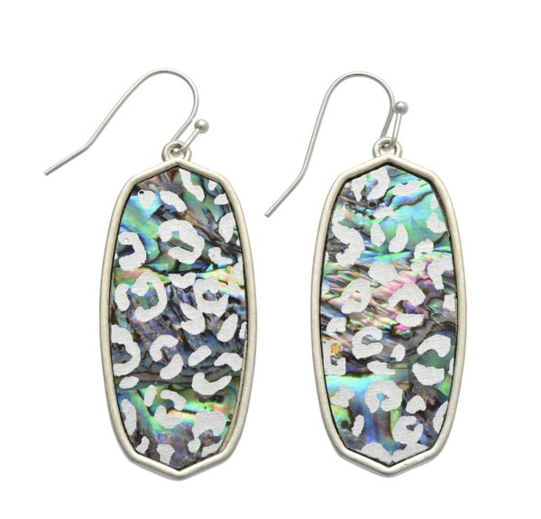 Abalone Leopard Print Iridescent Drop Earrings