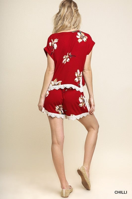 Floral Top and Shorts Lounge Set - Chilli