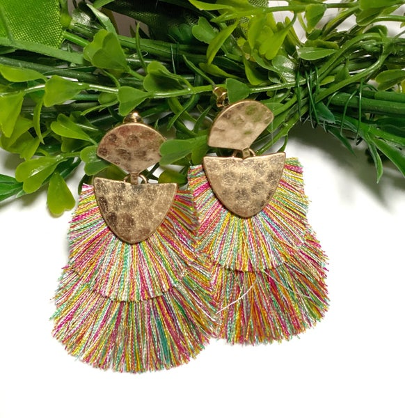 Multi Color Double Fringe Tassel Earrings