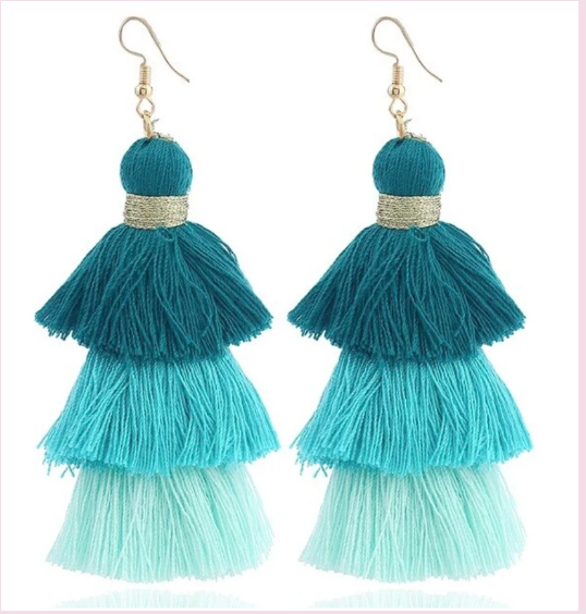 Turquoise Summer Tassel Earrings