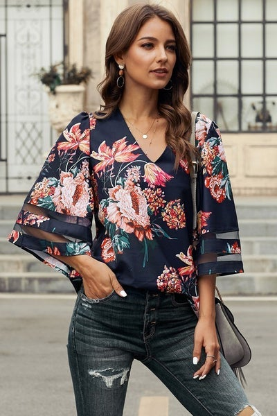 Navy Blooms Top