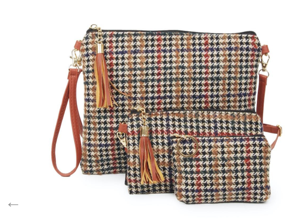 Fleece Houndstooth Handbag