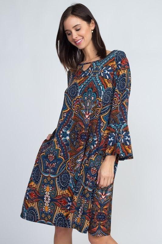 Keyhole Paisley Dress