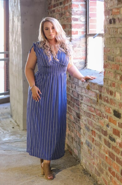 Smocked Waist Dress - Blue and Ivory Stripe