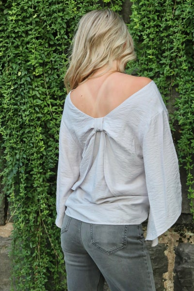 Take it Back Bow Knot Blouse - Grey