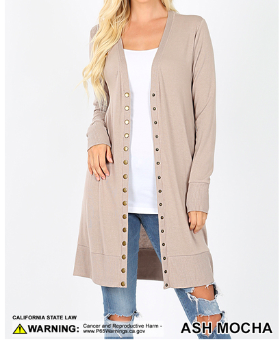 Snap Front Cardigan - Thigh Length