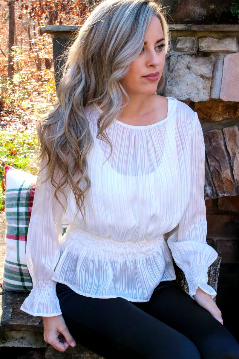 Smocked Peplum Holiday Top - Ivory