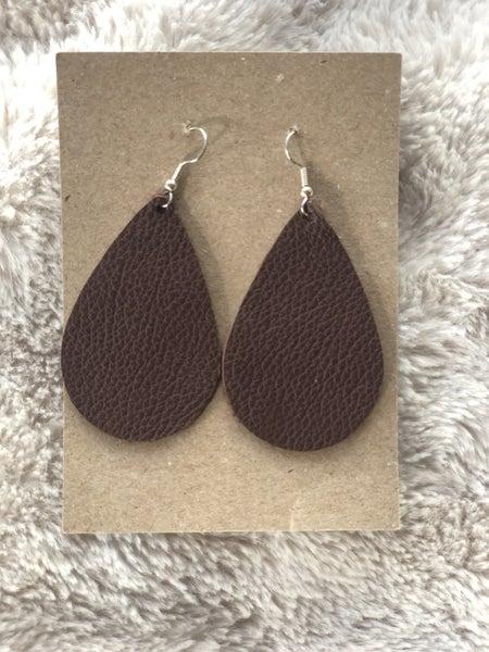 Brown Leather Tear Drop Earrings