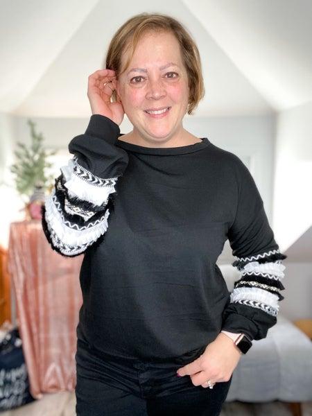Jacquard Trim Sleeve Pullover