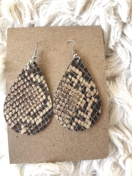Snake skin Leather Earrings