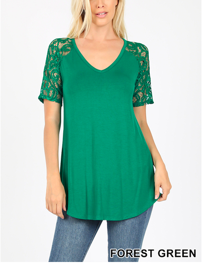 Lace Sleeve Tee Forest Green