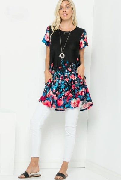 For the Roses Swing Tunic - Black *Final Sale*