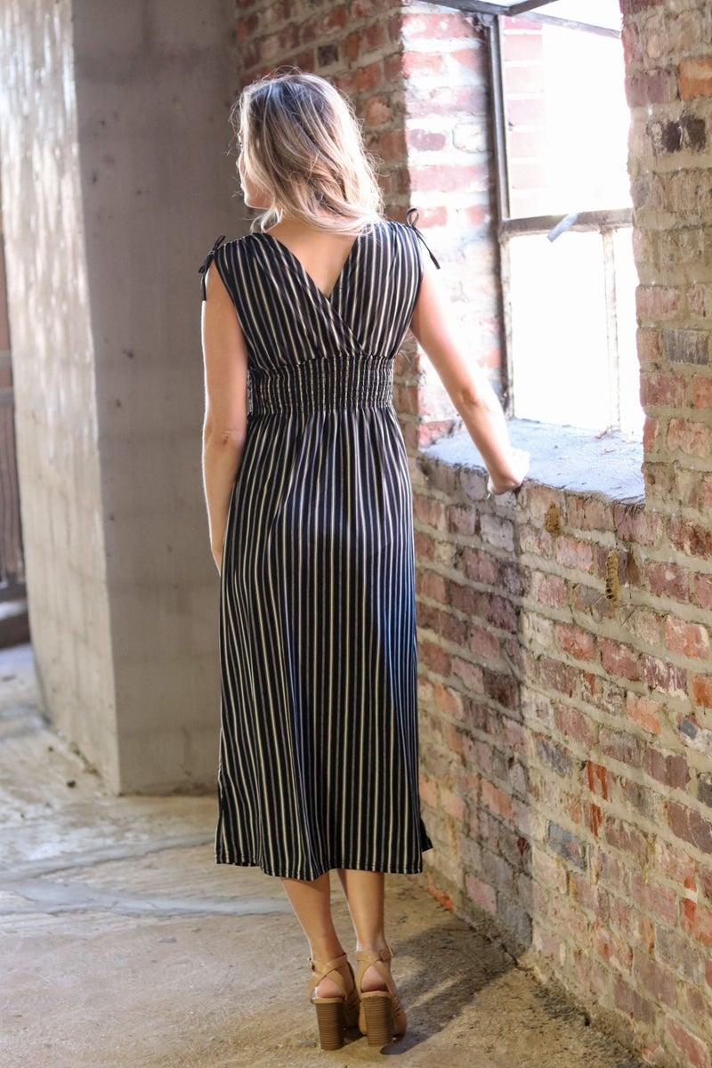 Smocked Waist Dress - Black and Ivory Stripe